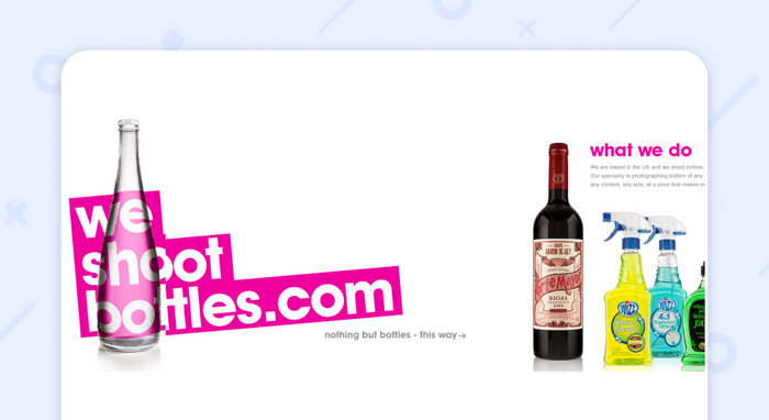 пример одностраничного сайта:We shoot Bottle