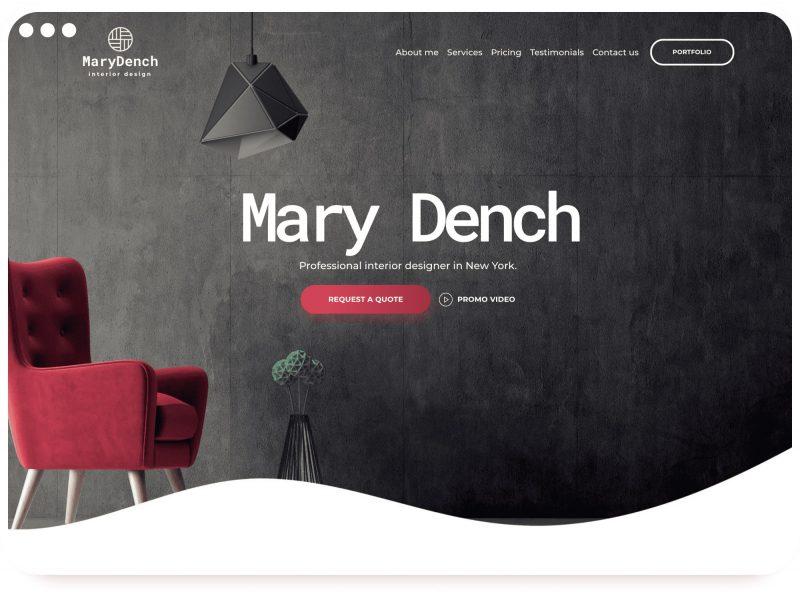 Шаблон дизайнер интерьеров Weblium
