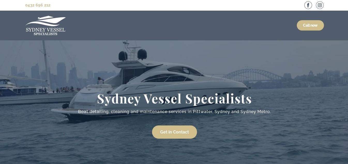 Sydney Vessel Specialists: пример минималистичного лендинга